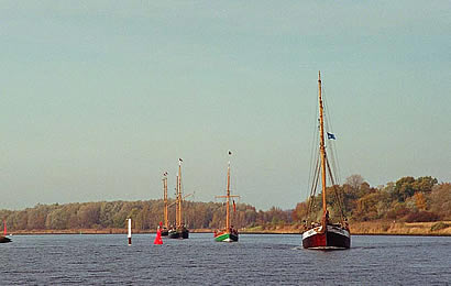 Gaffers from Lübeck on the river trave
